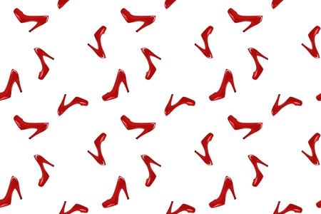pump shoe: shiny red shoes on white - seamless fashion background Illustration