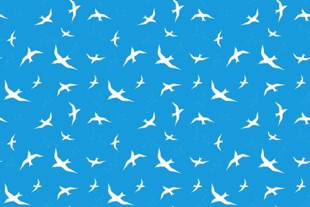 m�ve: nahtlose Hintergrund mit wei�en M�wen gegen den blauen Himmel Illustration