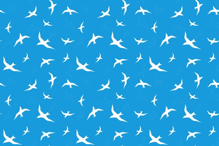 seamless background with white sea-gulls against blue sky Vector
