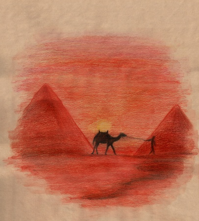 nomad: traditional Egyptian landscape with pyramids, camel and bedoiun - watercolor pencil drawing