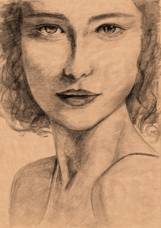 renaissance woman: renaissance style woman portrait - freehand pencil drawing