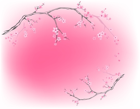 blooming trees against pink - spring background Vector