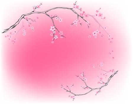 flor de sakura: árboles en flor de color rosa contra el fondo de primavera - Vectores