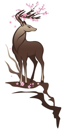 fallow deer: beautiful stag with pink flowers among horns