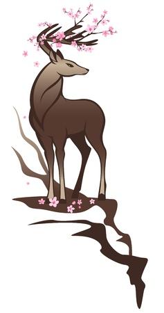 damhirsch: sch�nen Hirsch mit rosa Blumen unter den H�rnern