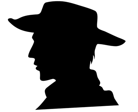 male profile: cowboy head illustration - black outline over white