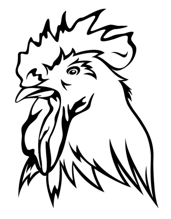rooster head vector illustration - black outline against white Vector