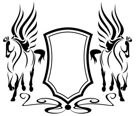 pegaso: hermosa pegaso con escudo heráldico - símbolos de inspiración en la mitología griega Vectores