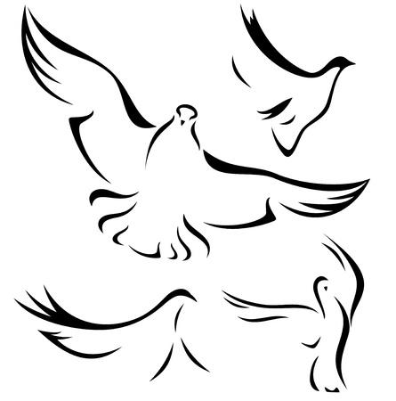 simbolos religiosos: conjunto de las palomas que vuelan - vector negro sobre blanco esboza