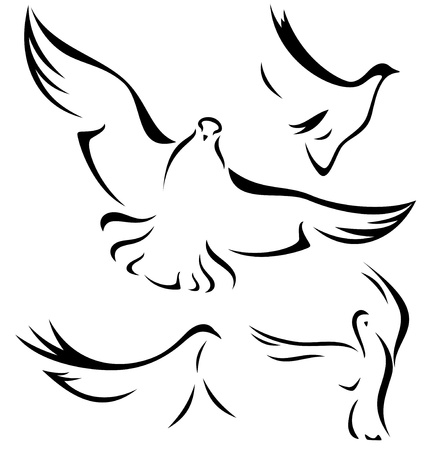 set of flying doves - black vector outlines over white