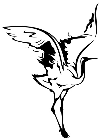beautiful crane vector illustration - black outline over white Vector