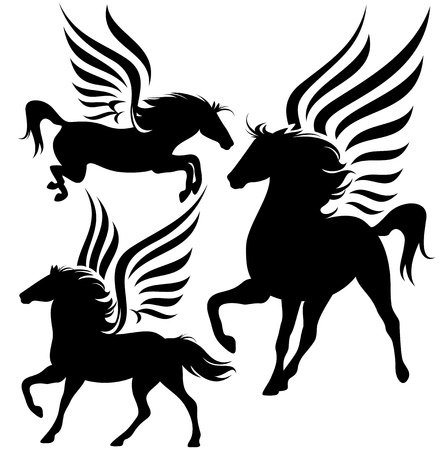 legend: beautiful pegasus horses black silhouettes over white Illustration