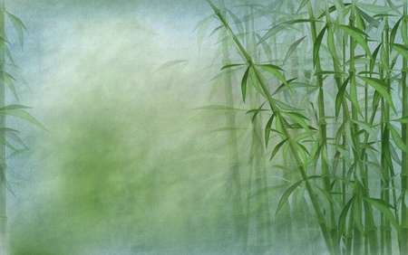 oriental background with bamboo stalks in shades of blue and green - old paper texture  photo