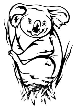 herbivores: koala bear sitting on the eucalyptus tree black and white outline