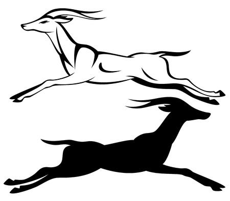 martinet: antilope en cours d'ex�cution en noir et blanc