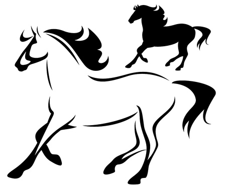 running horse: beautiful running horse - outline and silhouette
