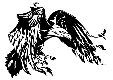 predator: flying eagle vector illustration - swooping bird black and white outline Illustration