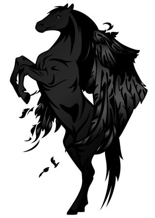 daemon: black winged stallion vector illustration