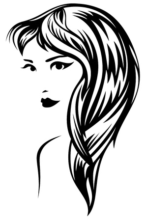 young woman with beautiful hair - black and white vector outline