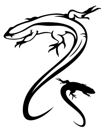 lizard vector illustration - black and white outline and silhouette
