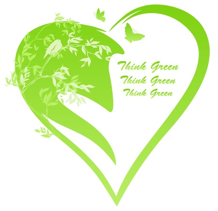 green heart with tree branches and a bird - editable illustration Vector