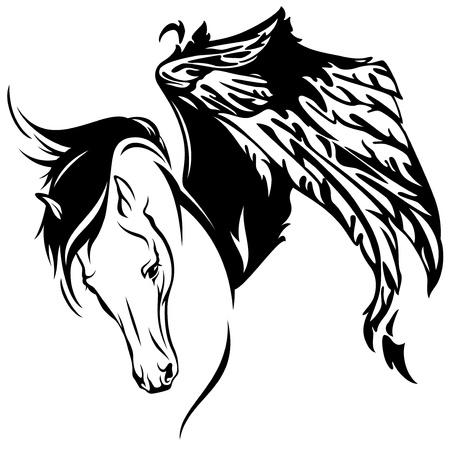 chevaux noir: mythique cheval ail� illustration fine - belle pegasus Illustration