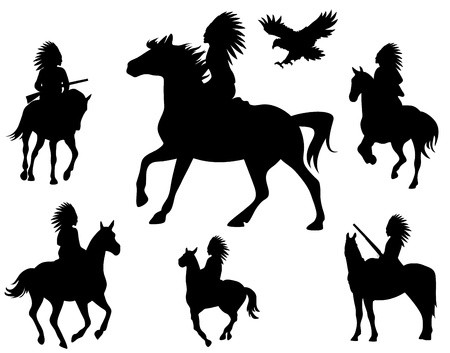 red indian: wild west theme silhouettes - native americans riding horses and wingspread eagle