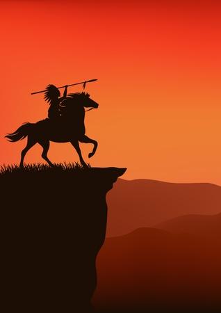 head-dress: dziki tło zachód - Native American szef jazdy konnej - sylwetka na szczycie klifu przed zachodem słońca niebo Ilustracja