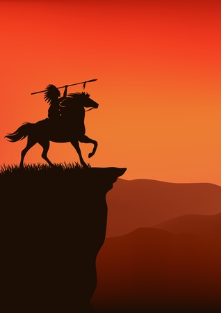 native indian: wild west background - native american chief riding a horse - silhouette on top of a cliff against sunset sky