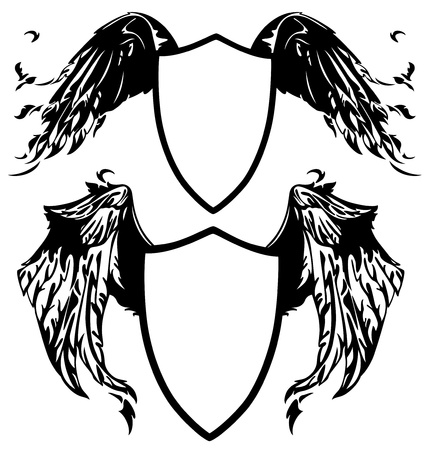 eagle wing: winged shields vector illustration - all elements are editable