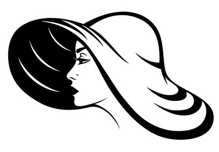 챙이 넓은 모자, 검은 색과 흰색 벡터 일러스트 레이 션을 입고 아름 다운 여자 프로필