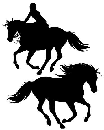 charro: siluetas finas de jinete montado en un caballo y el caballo salvaje