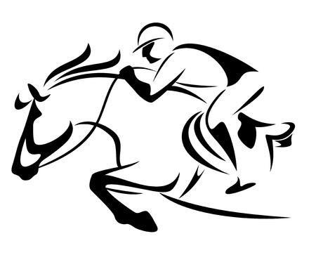 caballo saltando: muestran el emblema de saltar - esquema blanco y negro de caballo y jinete
