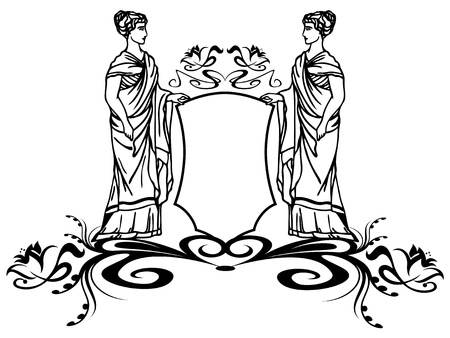 decorative element with ancient greek goddesses holding a shield Vector