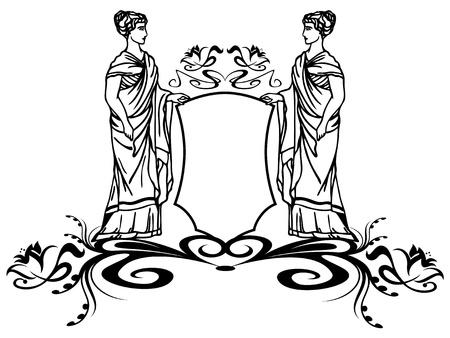 afrodite: elemento decorativo con le antiche dee greche regge uno scudo Vettoriali