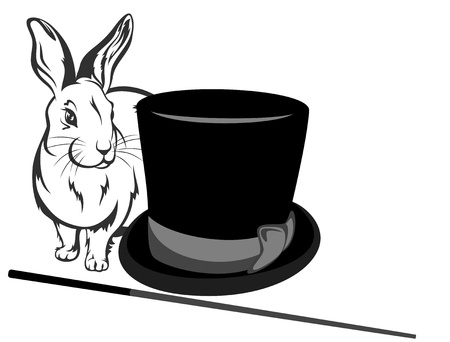 illusionist s equipment - hat, magic wand and bunny  rabbit is on separate layer  Vector