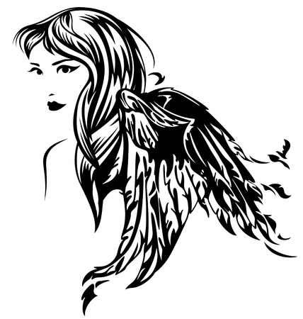 angel white: beautiful angel girl illustration - black and white profile portrait