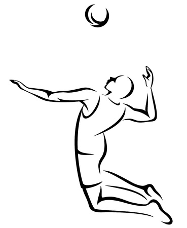 beach volleyball: volleyball player fine black and white outline