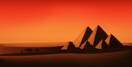 nomadic: egyptian landscape illustration - desert, pyramids, and camels at sunset