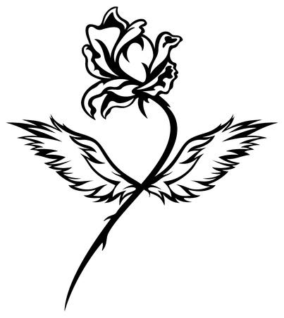 long stem roses:  romantic winged rose black and white vector illustration