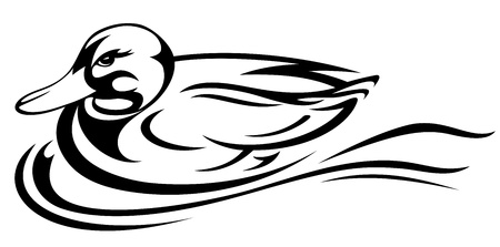 swimming duck illustration - black and white outline Vector