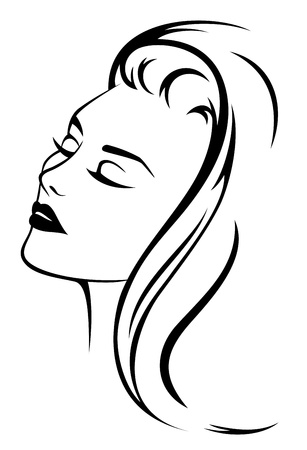 long black hair: beautiful woman face with long hair - black and white vector illustration