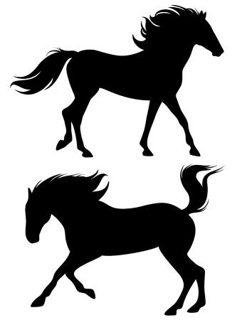 caballos negros: caballos corriendo - siluetas finas vector - siluetas negras sobre blanco