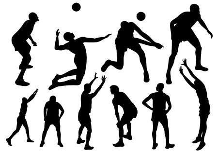 beach volley: volleyball players fine vector silhouettes - black sportsmen silhouettes
