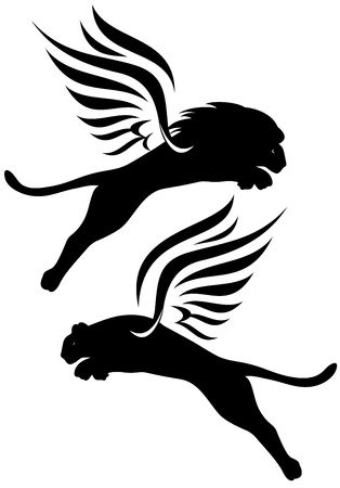 winged: winged lions vector silhouettes - black outlines over white Illustration