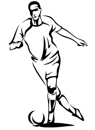 soccer player monochrome vector outline - black over white Vector