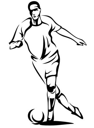 kicking ball: soccer player monochrome vector outline - black over white Illustration