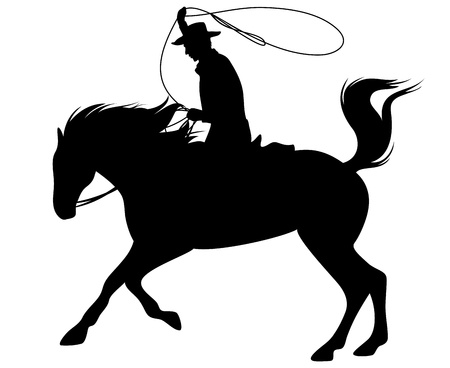 vaquero: vaquero que monta un caballo y lanzando silueta vector lazo fino - borde negro sobre blanco
