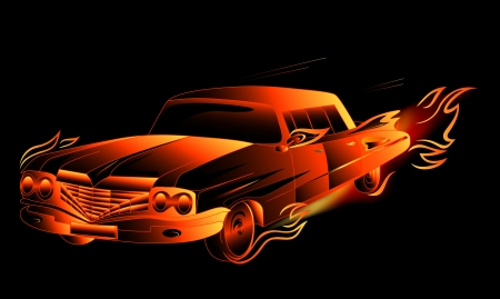 fiery fantasy retro stylized car vector illustration against black background (EPS10) Vector