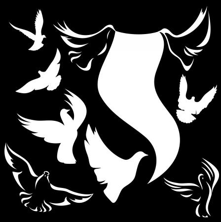 paloma blanca: conjunto de las palomas vector - contorno blanco y negro siluetas contra